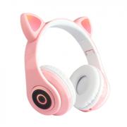 Наушники светодиодные кошачьи уши HL89 Cat ear (Розовые)