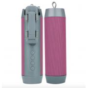 Портативная колонка Wireless + селфи палка + Powerbank 3 в 1 (Розовая)