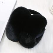 Складывающиеся меховые наушники (Черные)