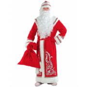 Карнавальный костюм для взрослых Дед Мороз с аппликациями, размер 58 (Красный)