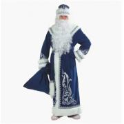 Карнавальный костюм для взрослых Дед Мороз с аппликациями, размер 58 (Синий)