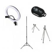 Кольцевая светодиодная LED лампа 30см с напольным и настольным шативами и селфи-пультом Bluetooth