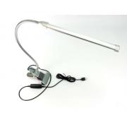 Лампа настольная светодиодная с прищепкой и гибкой ножкой 3 режима (Серебристая)
