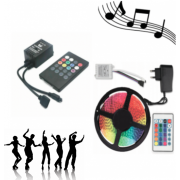 Светодиодная лента LED SMD 3528 5m с блоком питания и пультом RGB в комплекте с Ифракрасным музыкальным светодиодным контроллером ir controller