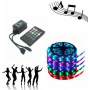 Светодиодная лента LED SMD 5050 5m с блоком питания RGB с пультом в комплекте с Ифракрасным музыкальным светодиодным контроллером ir controller