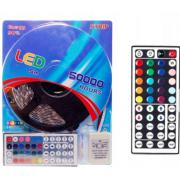 Светодиодная лента диммируемая, влагозащитная а пылезащитная с блоком питания и пультом Led Strip RGB 5м 5050 (Цветная + белый цвет)