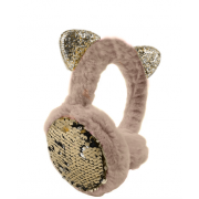 Зимние плюшевые наушники с ушками котика в пайетках (Бежевые)