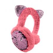 Зимние плюшевые наушники с ушками котика в пайетках (Розовые)