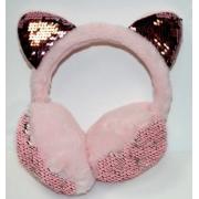 Зимние плюшевые наушники с ушками котика в пайетках (Светло-розовые)