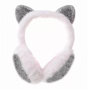 Зимние плюшевые наушники с ушками котика в пайетках (Белые)
