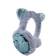 Зимние плюшевые наушники с ушками котика в пайетках (Серые)