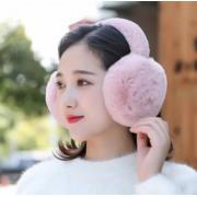 Зимние складывающиеся меховые наушники (Розовые)
