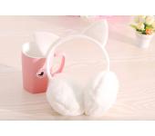 Зимние плюшевые наушники с ушками котика (Белые)