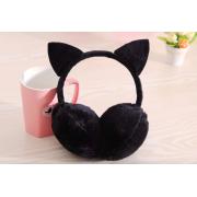 Зимние плюшевые наушники с ушками котика (Черные)