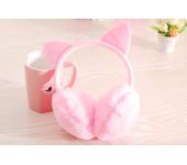 Зимние плюшевые наушники с ушками котика (Розовые)