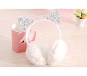 Зимние плюшевые наушники с блестящими ушками (Белые)