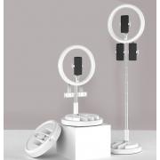 Кольцевая светодиодная лампа LED BK-01 со штативом 29см (Белая)