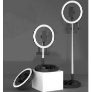 Кольцевая светодиодная лампа LED BK-01 со штативом 29см (Черная)