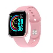 Смарт-часы Y68 с трекером активности, пульсометром и с измерением артериального давления (Розовые)
