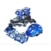 PW-780 Набор: коньки ролик, защита, шлем р. 34-37 (Синий)