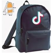 Рюкзак с принтом Тик Ток с синим логотипом (Синий)