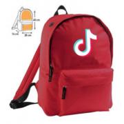Рюкзак с принтом Тик Ток с синим логотипом (Красный)