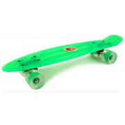 Скейтборд Warning c светящимися колесами (Зеленый)