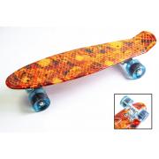 Скейтборд Warning c светящимися колесами (Оранжевый камуфляж)