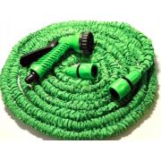 Поливочный растягивающийся садовый шланг с насадкой-распылителем Magic hose 45 метров (Зеленый)