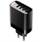 Сетевая зарядка Baseus Mirror Lake Digital Display 4USB Travel Charger 30W EU CCJMHB-B01 (Черный)