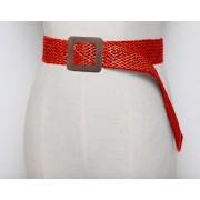 Плетеный гладкий пояс с пряжкой (Красный)