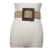 Плетеный ремень с деревянной квадратной пряжкой (Коричневый)