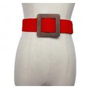 Плетеный ремень с деревянной квадратной пряжкой (Красный)