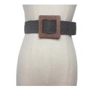 Плетеный ремень с деревянной квадратной пряжкой (Серый)