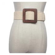 Плетеный ремень с деревянной квадратной пряжкой (Белый)