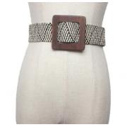 Плетеный ремень с орнаментом и с деревянной квадратной пряжкой (Серый)