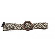 Плетеный ремень с орнаментом и с деревянной пряжкой (Серый)