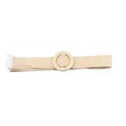 Плетеный ремень с деревянной пряжкой (Белый)
