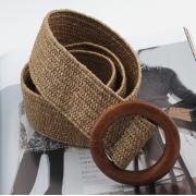 Плетеный ремень с деревянной пряжкой (Коричневый)
