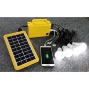 Аккумуляторная солнечная батарея с функцией зарядного устройства, кабель, 2 лампочки
