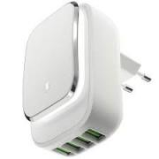 Сетевое зарядное устройство InterStep 4USB 4,4A Smart LED (Белое)