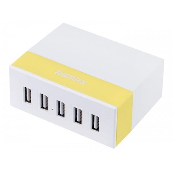 Зарядное устройство на 5 USB Remax Charger RU-U1 Разветвитель Хаб (Желтый)