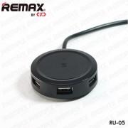 Универсальный разветвитель на 3 USB Remax charger hub RU-05 (Черный)