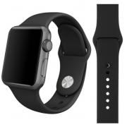 Силиконовый ремешок Sport для Apple Watch 42 44 мм (Черный)