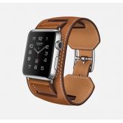 Ремешок для часов Apple Watch кожаный широкий с отстрочкой (Коричневый 42)