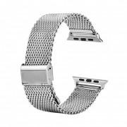 Ремешок для часов Apple Watch металл браслет мелкое плетение с застежкой (Серебристый 38)