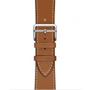 Ремешок для часов Apple Watch натуральная кожа с отстрочкой, строгий, деловой, элегантный (Светло-коричневый 38)