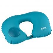 Дорожная надувная подушка для шеи со встроенной помпой Romix RH34 (Синяя)