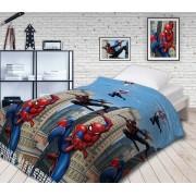 Детское покрывало стеганое Человек паук Городские герои 1.5 спальное (Разноцветный)