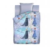 Детское покрывало стеганое Холодное сердце Зимняя сказка 1.5 спальное (Голубой)
